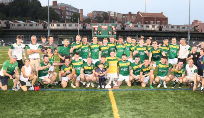 The St. Barnabas panel and back room team after winning the 2021 New York Senior Football title (Photo by Michael Dorgan, The Long Hall Podcast)