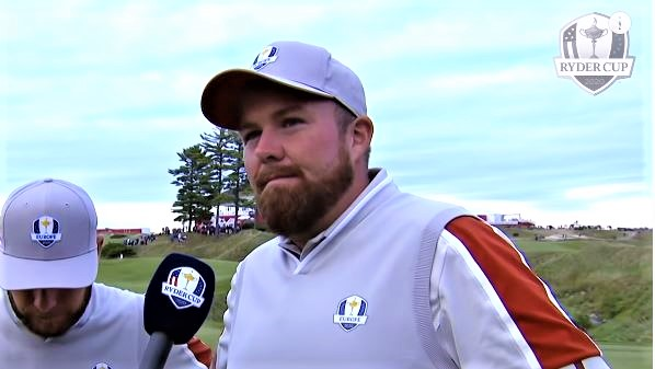 Shane Lowry being interviewed at the Ryder Cup (YouTube)