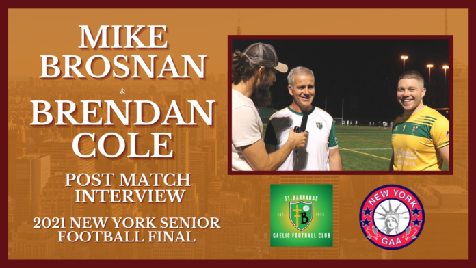 St. Barnabas joint-manager Mike Brosnan and captain Brendan Cole after the 2021 New York Senior Football Final on Sept. 12, 2021.