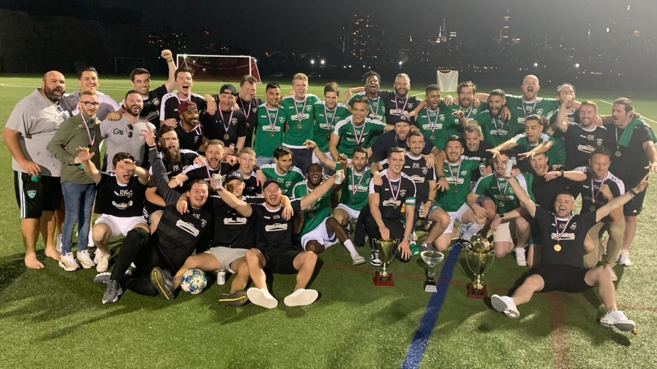 NY Shamrocks First and Reserve teams celebrate winning their respective leagues last season