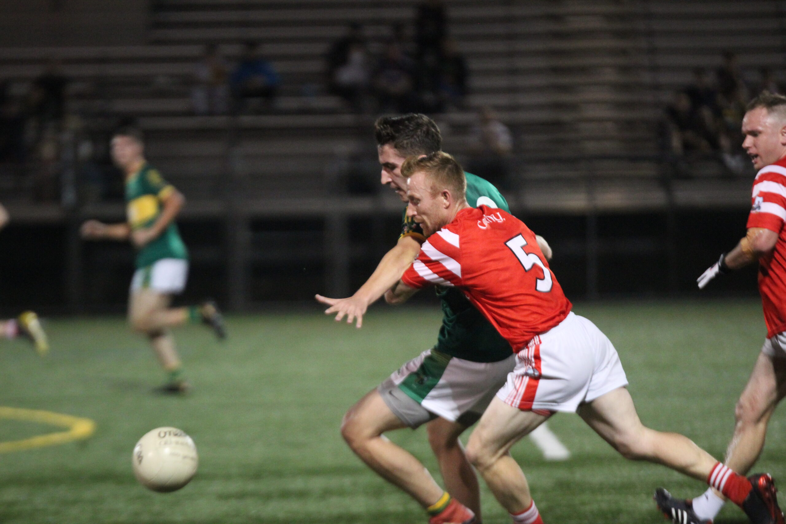 Action from Cork v St. Barnabas in the 2021 Bew York Junior A Football Final (Photo by Sharon Redican)