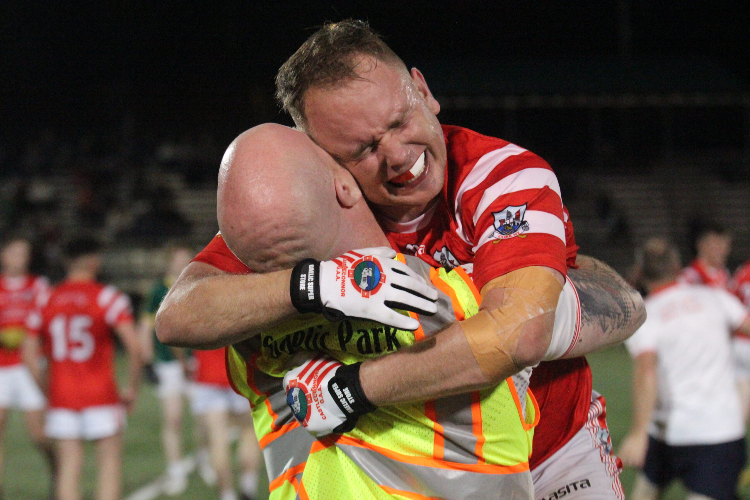 Cork manager Lorcan Grall and Niall Judge celebrate after the final whistle (Photo by Sharon Redican)