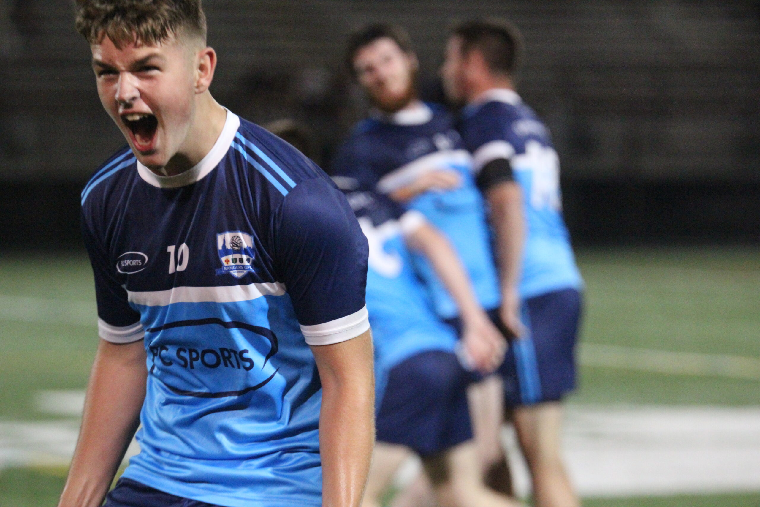 Rangers GFC player Joey Grace celebrates after the final whistle at Gaelic Park on Oct. 1, 2021. Rangers GFC v Shannon Gaels (Photo by Sharon Redican)