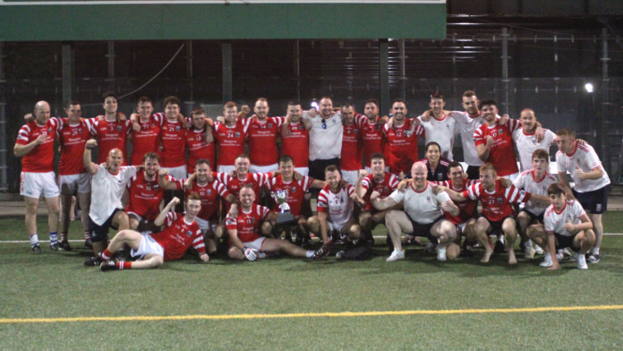 The Cork panel and back room team after winning the 2021 New York Junior A Football title (Photo Sharon Redican )