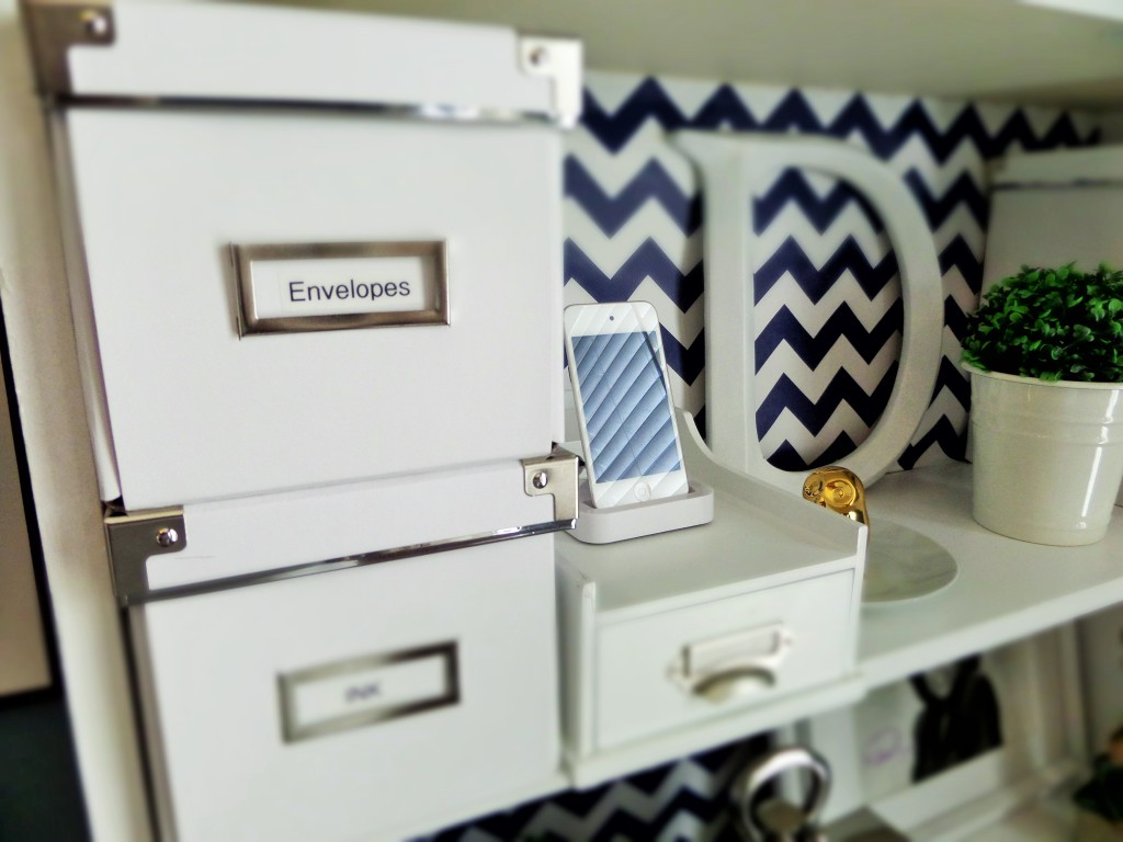 Ikea boxes used for office supplies