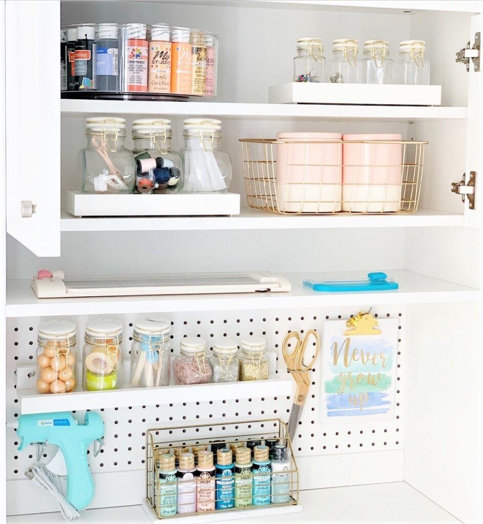 Better Homes & Gardens Craftform Sewing and Craft Hutch with Pegboard, White Finish