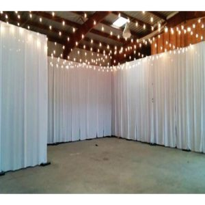 Pipe And Drape With White Curtains 8Ft hi 10Ft Wide