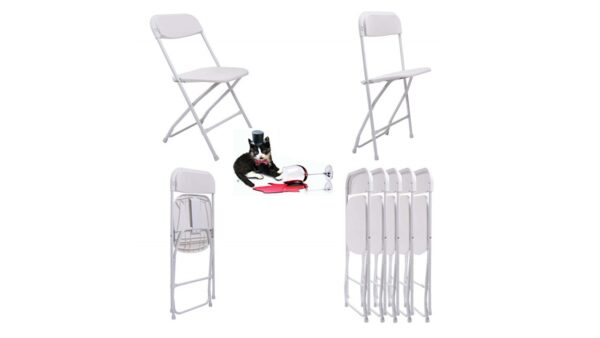 Affordable White Plastic folding chair for rent for Rent