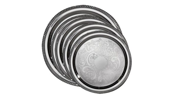 C Silver Tray with Rope Edge