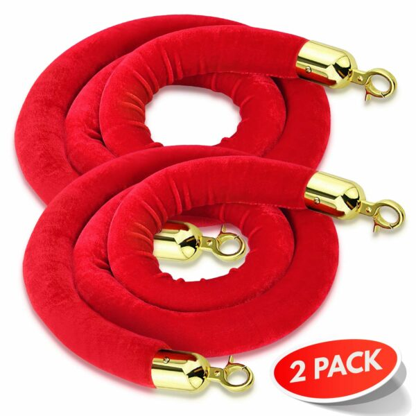 Red stanchion rope with gold tip