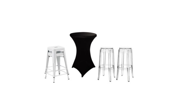 Spandex Cocktail Tablecloths and Bar Stools