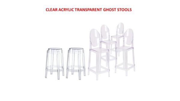 813 Clear Ghost Round Back And Backless Bar Stools