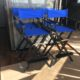 A2 Gold Stanchion & White Rope - Directors Chair with black frame and blue seat
