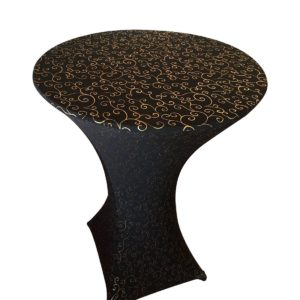 B Spandex Tablecloth Black with Gold Metallic For Cocktail Table