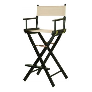 Bar Stools Directors Chair Black Frame with Wheat Canvas