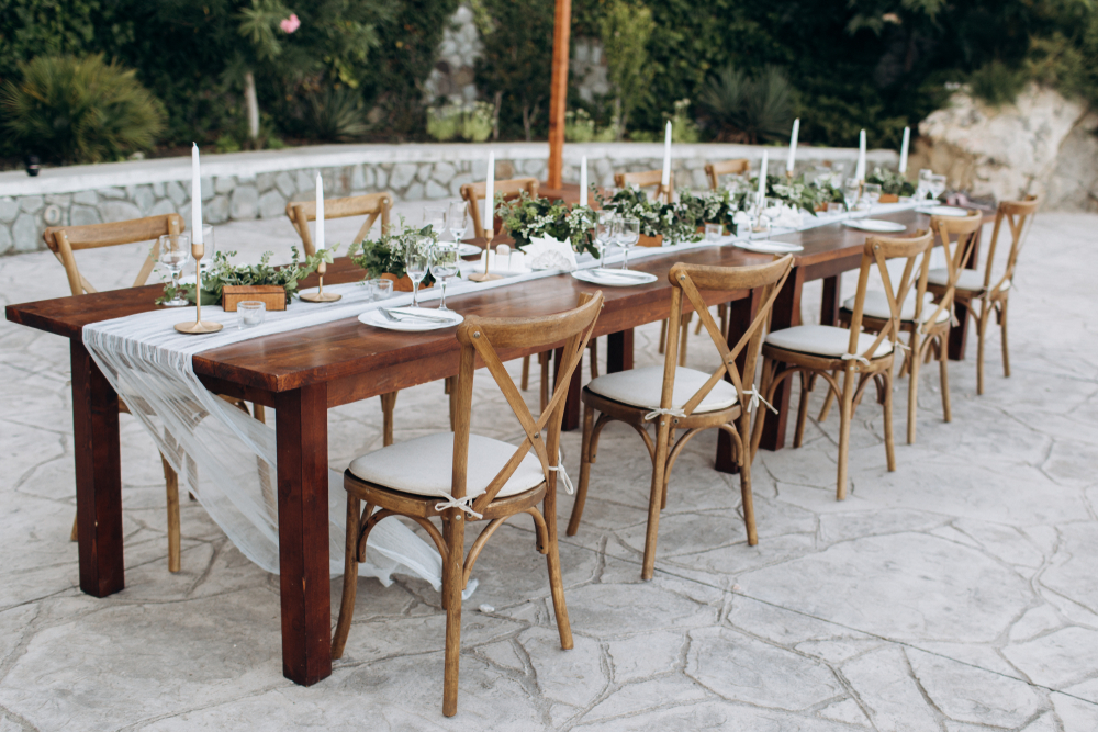 rustic cross back chairs for rent