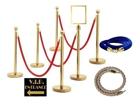 Gold stanchion with gold tip red ropes