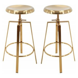 B Brage Backless Round Seat Adjustable Height Bar Stools (Gold)