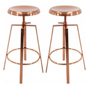 B Brage Backless Round Seat Adjustable Height Bar Stools (Rose Gold)