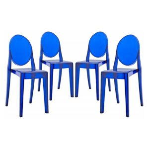 Stackable Ghost Blue Round Back Chair for Rent