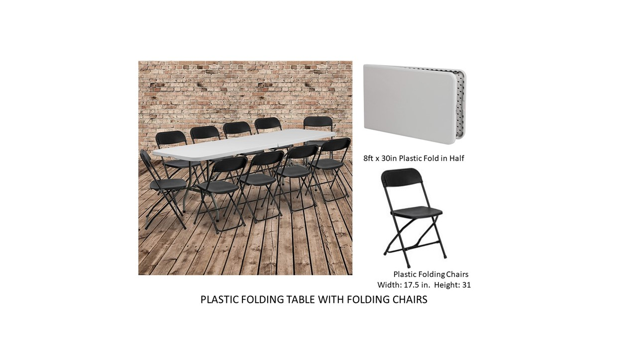 plastic table and chairs for rent