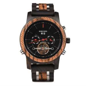 burnham automatic mechanical black wooden watch