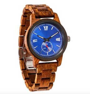 blue face wooden watch