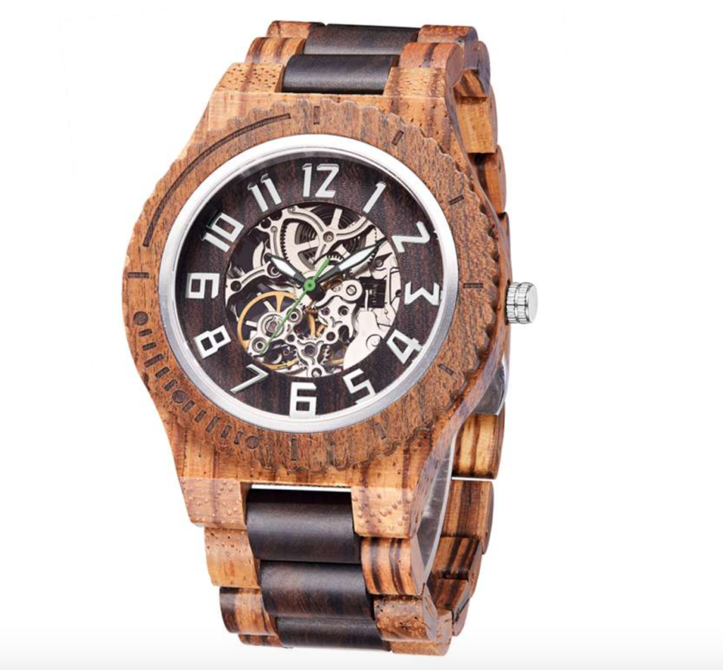 zebrawood skeleton wood watch for men