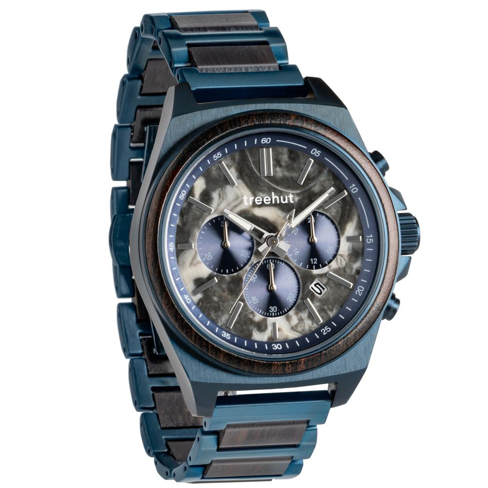 aster treehut grey marble watch for men with wood and blue steel watch band