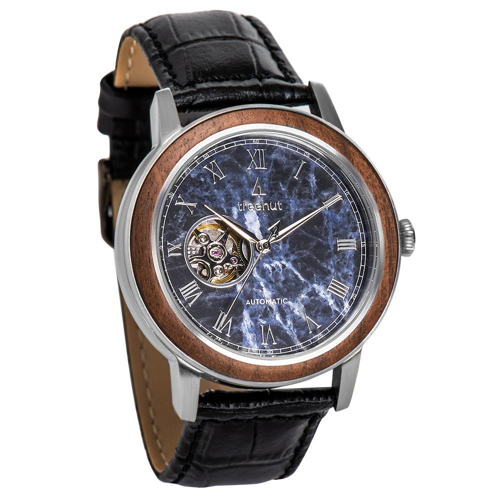 atlas treehut blue marble watch for men with black leather band