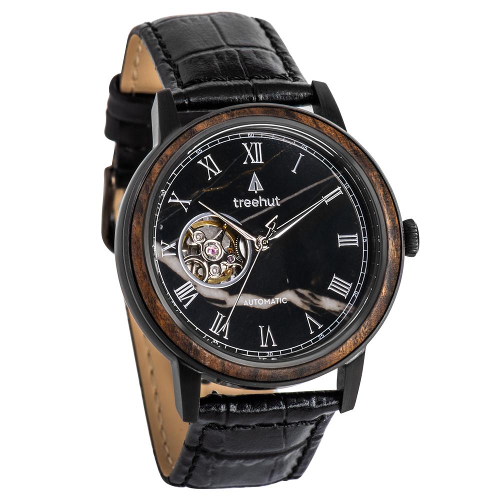 atlas treehut black marble watch for men with black leather band