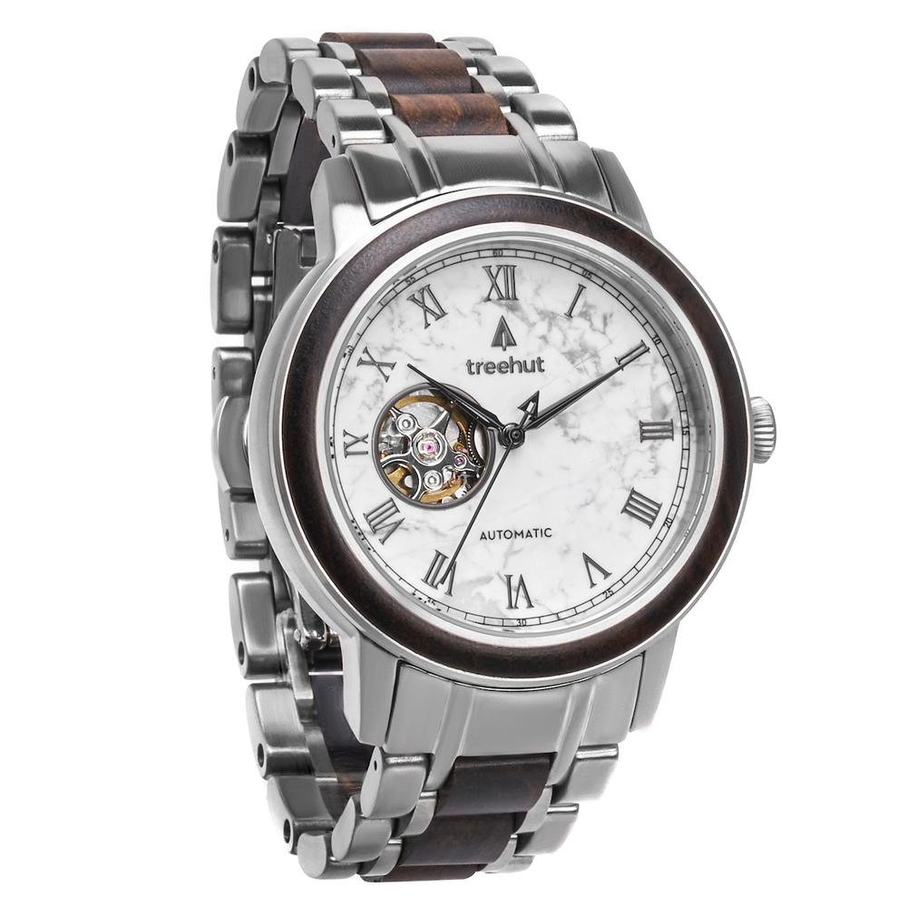 atlas treehut white marble watch for men with steel watch band