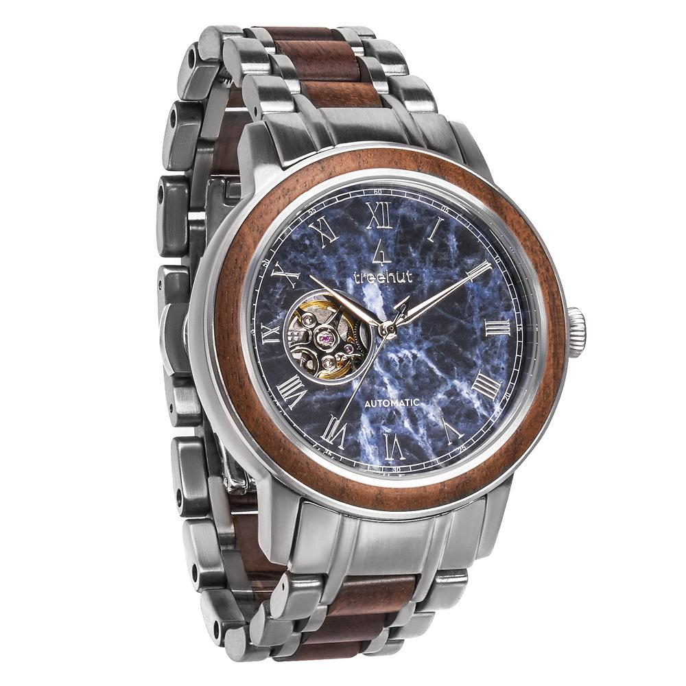 atlas treehut blue marble watch for men with steel watch band