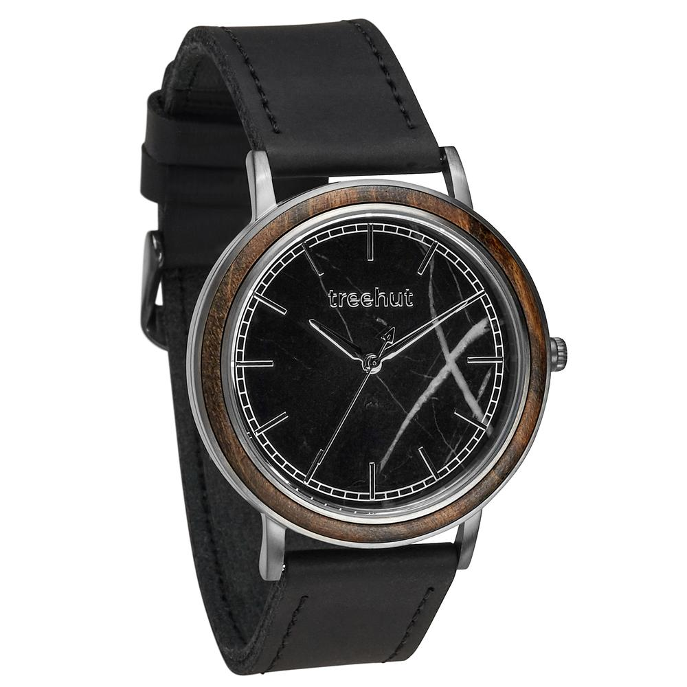 bay treehut black marble watch for men with walnut wood and black leather band