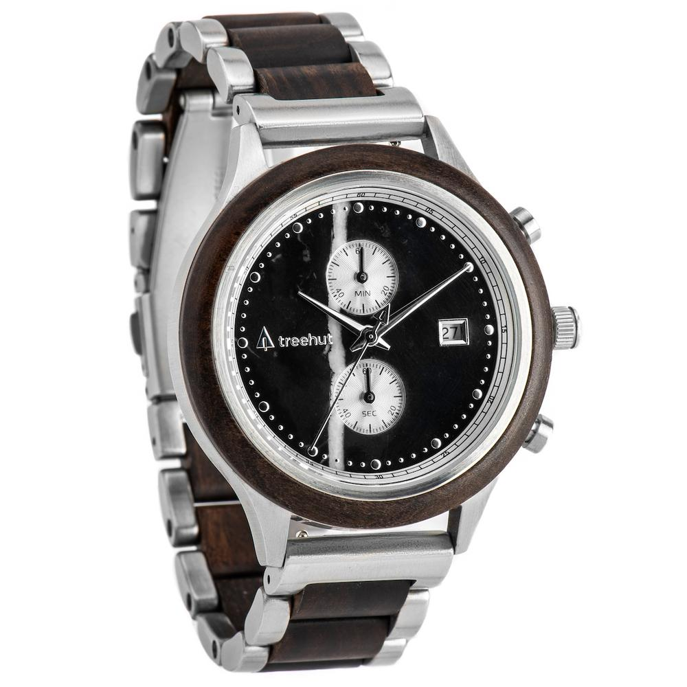 rise treehut black marble watch for men with ebony wood and steel metal band