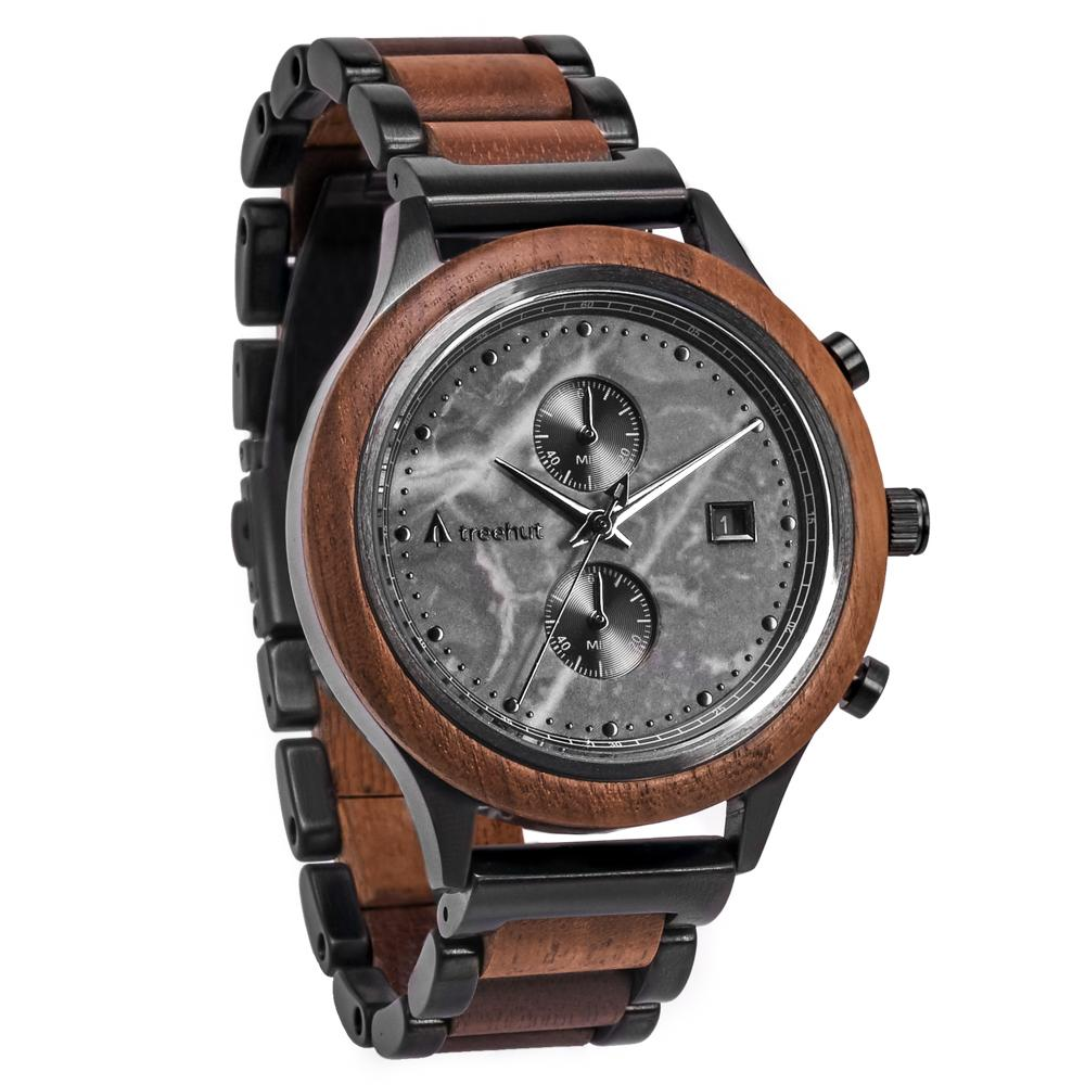 rise treehut gray marble watch for men with walnut wood and metal band