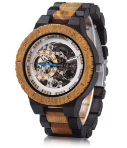 BOBO BIRD Men's Wooden Automatic Movement Watch With Zebrawood And Ebony Wood