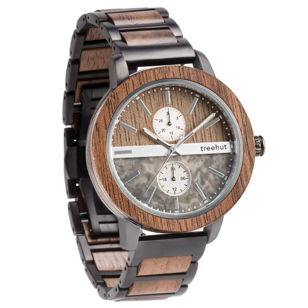 tao treehut gray marble watch for men with walnut wood and black steel band