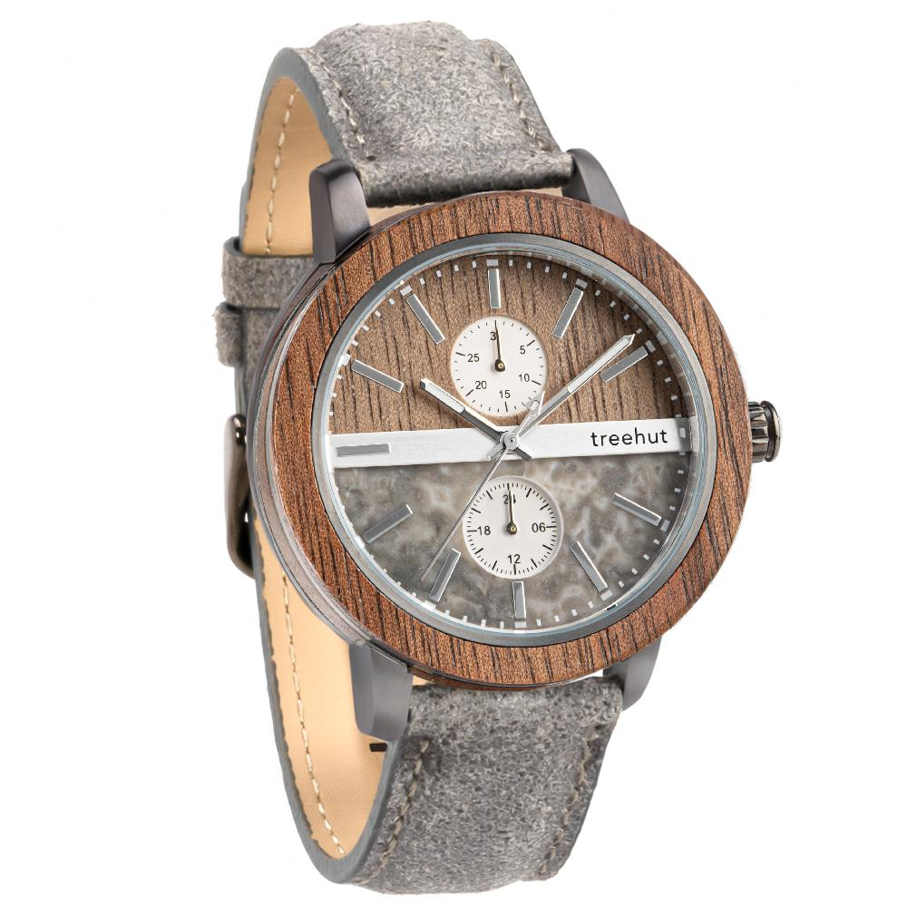 tao treehut grey marble watch for men with walnut wood and grey leather band