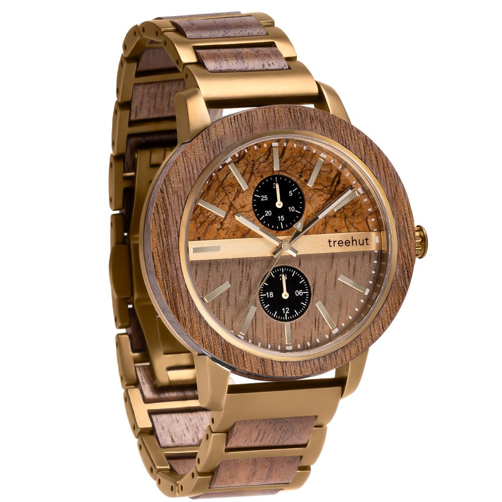 tao treehut marble watch for men with walnut wood and gold steel patina band