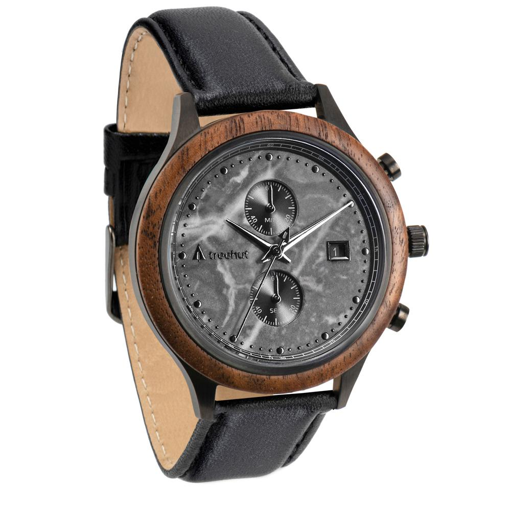 rise treehut gray marble watch for men with walnut wood and black leather strap