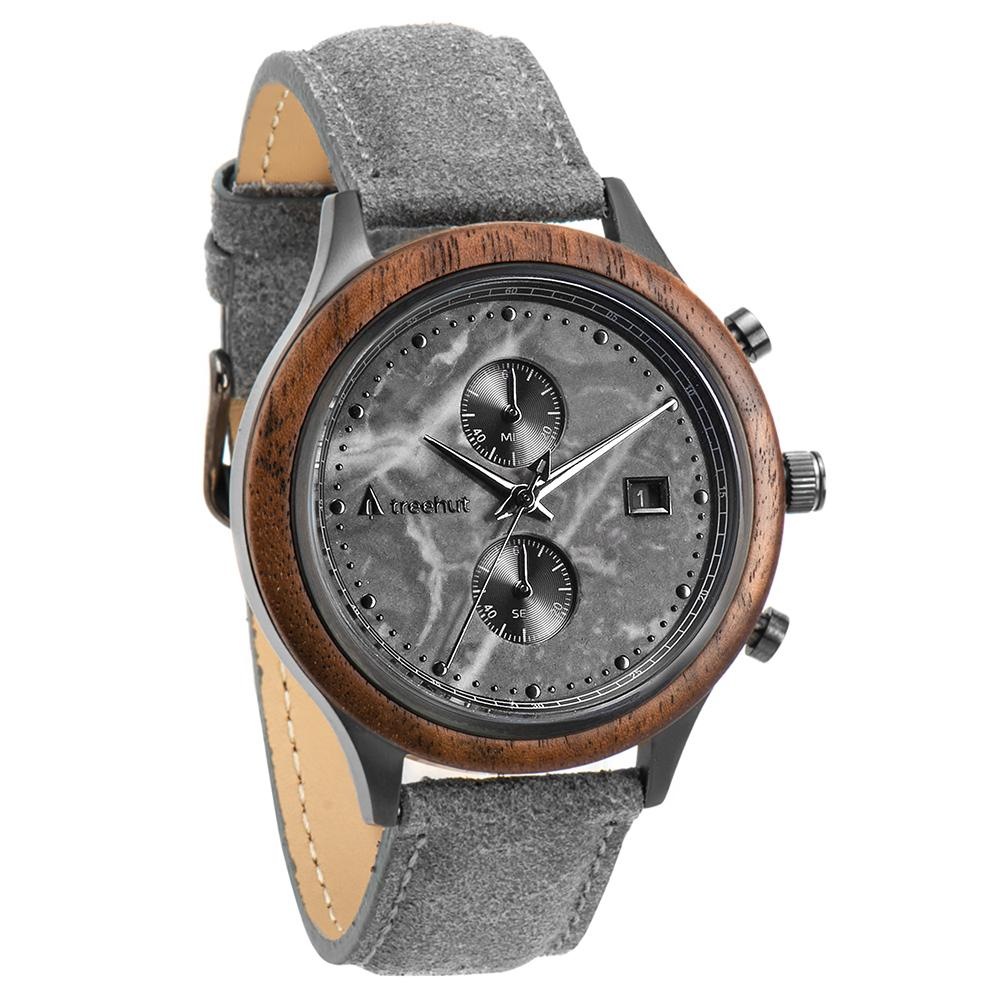 rise treehut gray marble watch for men with walnut wood and gray leather band