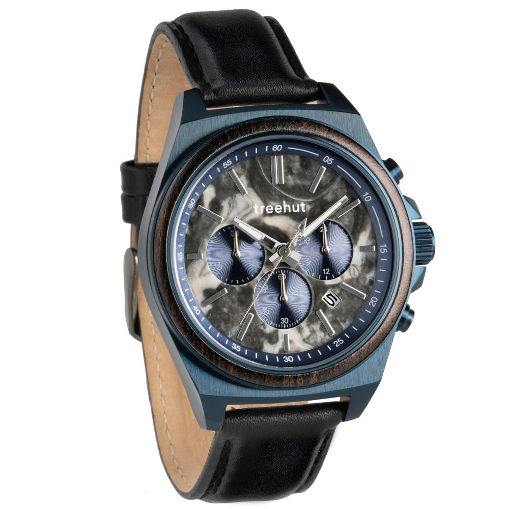 aster treehut grey marble watch for men with wood and blue steel case