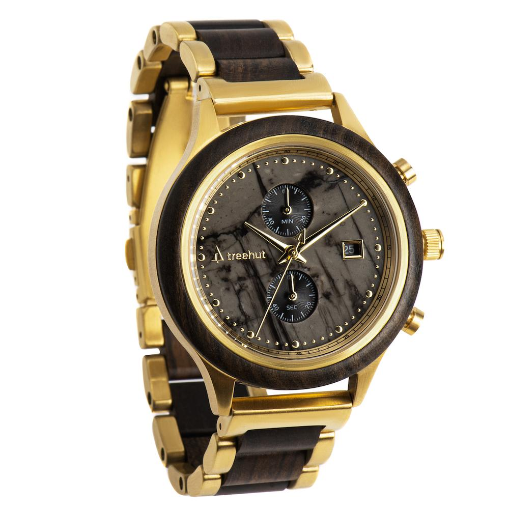 rise treehut gray marble watch for men with ebony wood and gold metal band