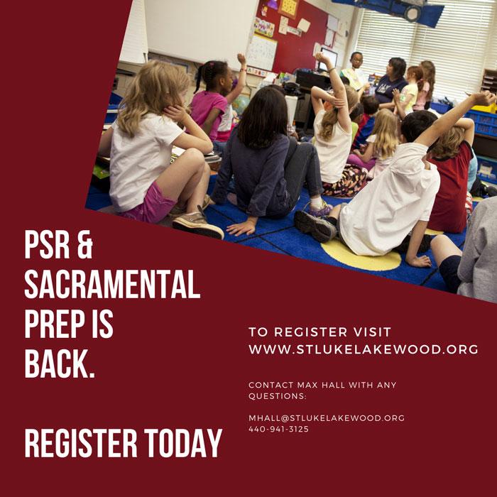 PSR and Sacramental Prep Registration is Open! Sign Up Now External