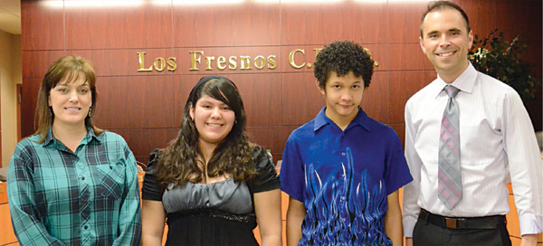 American Mathematics Competition Champs Recognized: Los Fresnos United's AMC team was introduced as the winners of the AMC 10 competition in the Rio Grande Valley. Pictured are (from left) sponsor Deanna Cole, students Viridiana Garcia and Josue Baquero, and principal Joseph Villarreal.