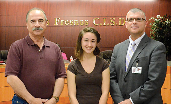 American Mathematics Competition Team Introduced: Los Fresnos High School's AMC team was introduced as the runnersup of the AMC 12 competition in the Rio Grande Valley. Pictured are (from left) sponsor Marcelo Garza, Samantha Jo Rodriguez, and principal Ronnie Rodriguez. See more photos on the Sports page