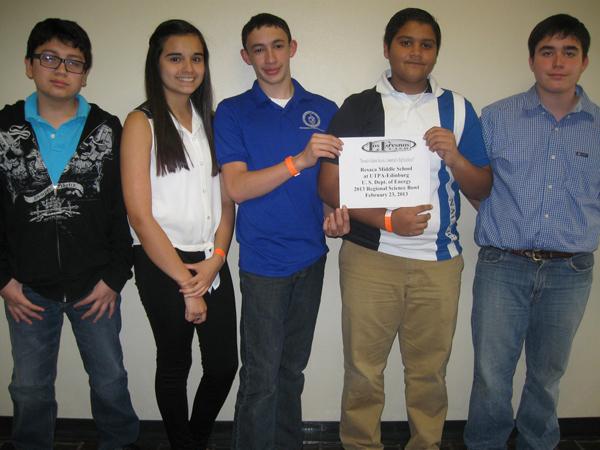 (RMS Team from left) Kevin Benavides, Ana Islas, Jacob Stambaugh, Muhammad Khan, Zachary Dunbar. Coach Tony Padilla (not pictured)