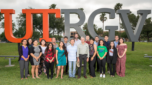 Sixteen UTRGV students have been awarded Benjamin A. Gilman International Scholarships this year that will take them around the world for Study Abroad courses this summer. The students are from across the Valley. Countries in this year's studies abroad include Ireland, Brazil, Germany, China, Spain, Japan, South Korea, Italy, Peru and the United Kingdom. Shown are UTRGV Gilman recipients, professors and program administrators: (from left, front row) Dr. Yanina Hernandez, lecturer, Writing & Language Studies; Lizette Leal, International Programs & Partnerships specialist; Raisa Ramirez; Alexandra Torres; Dr. Ping Xu; assistant professor of art; Dr. Robert Gilbert, associate professor of art; Emily Rivas; Stephanie Torres; Myrine Barreiro-Arevalo; and Lorelei Lopez; (back row) Maraya Garcia; Samantha Bustillos; Dr. Robert Bradley, associate professor of art; Gerardo Segundo; Alan Earhart, director of International Programs & Partnerships; Ricardo Carrillo; Omar Nedzelsky Jr; Samuel Cavazos; and Dr. Robert Hoppens, associate professor of history. Not pictured are Gilman recipients Kristopher Price, Valeria Treviño, Jose Garcia and Raul Martinez. Photo: Paul Chouy/UTRGV