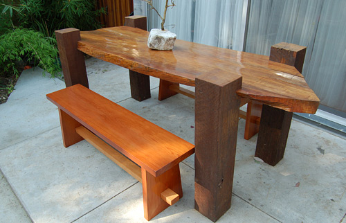 Black Star - Redwood Koa Table and benches